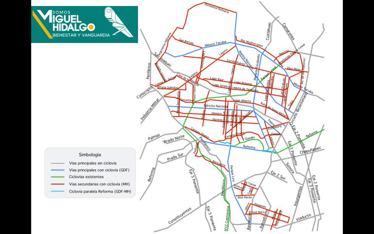 Las estructura ciclista que propuse para la delegación Miguel Hidalgo